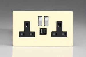 Varilight XDY5U2SBS.PD - 2-Gang 13A Single Pole Switched Socket with Metal Rockers + 2 5V DC 2100mA USB Charging Ports