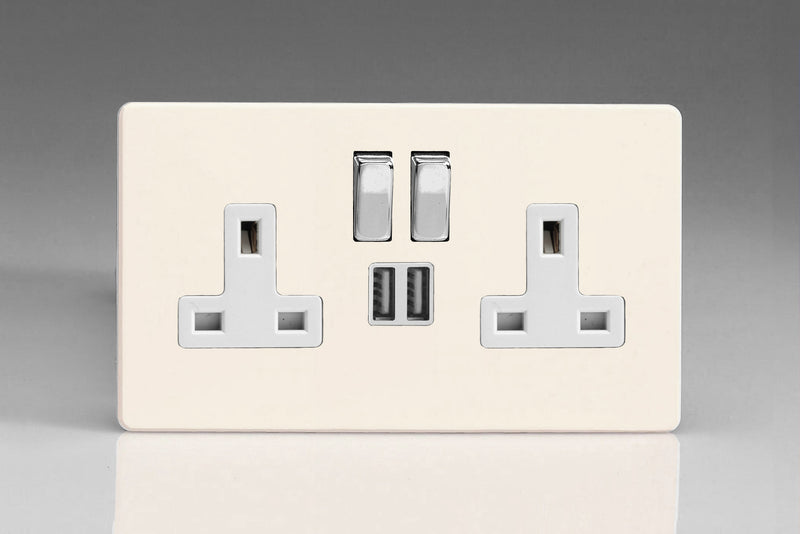 Varilight XDY5U2SWS.PD - 2-Gang 13A Single Pole Switched Socket with Metal Rockers + 2 5V DC 2100mA USB Charging Ports