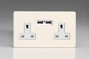 Varilight XDY5U2WS.PD - 2-Gang 13A Single Pole Switched Socket + 2 5V DC 2100mA USB Charging Ports