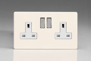 Varilight XDY5WS.PD - 2-Gang 13A Double Pole Switched Socket with Metal Rockers