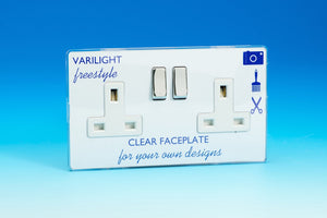 Varilight XIF5CW - 2-Gang 13A Double Pole Switched Socket with Metal Rockers