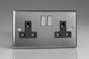 Varilight XT5DB - 2-Gang 13A Double Pole Switched Socket with Metal Rockers