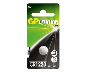 GP CR1220 3v lithium coin cell battery.