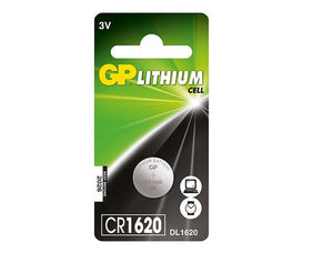 GP CR1620 3v lithium coin cell battery.