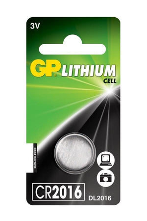 GP CR2016 3v lithium coin cell battery.
