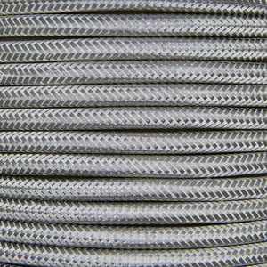 01016 Round Metal Braided Flex 3 core 0.5mm Silver, mtr - Lampfix - Sparks Warehouse