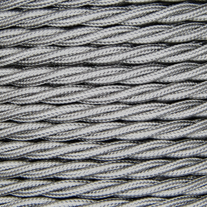 01012 Ecofix Triple Twisted Braided Flex 3 core 0.5mm Silver, mtr - Lampfix - Sparks Warehouse