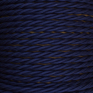 01035 T-T Braided Flex 3 core 0.75mm Navy, mtr - Lampfix - Sparks Warehouse