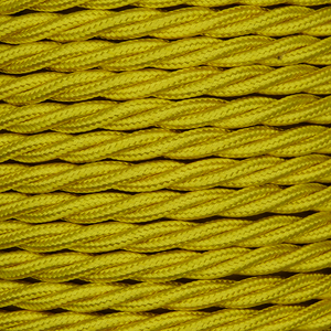 01005 Triple Twisted Braided Flex 3 core 0.75mm Yellow, mtr - Lampfix - Sparks Warehouse