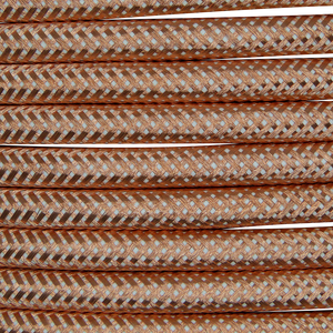 01007 Round Metal Braided Flex 3 core 0.5mm Copper, mtr - Lampfix - Sparks Warehouse