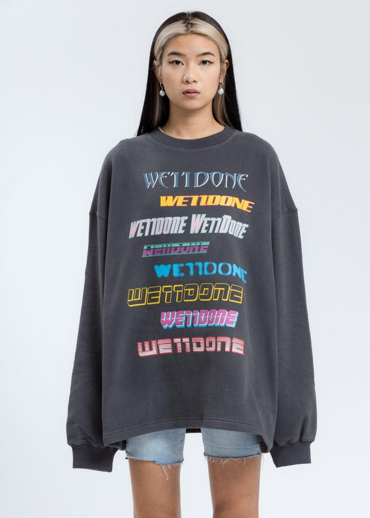 We11done Fleece Logo Sweater Charcoal - Mores Studio
