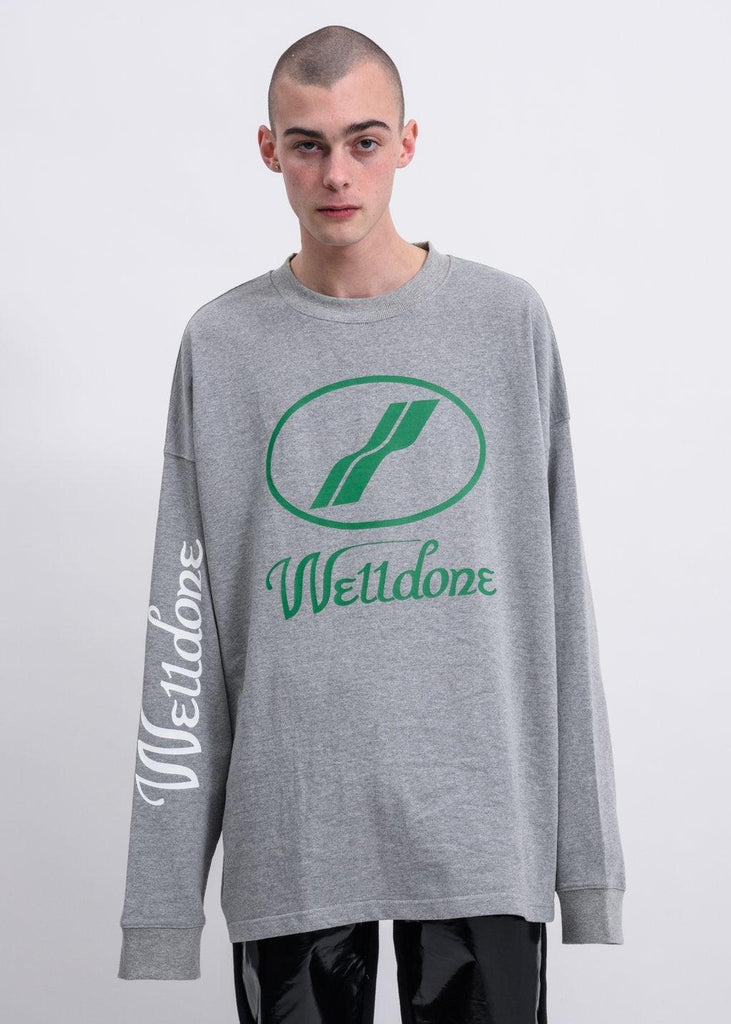 We11done WD Print Logo Long Sleeve Grey - Mores Studio