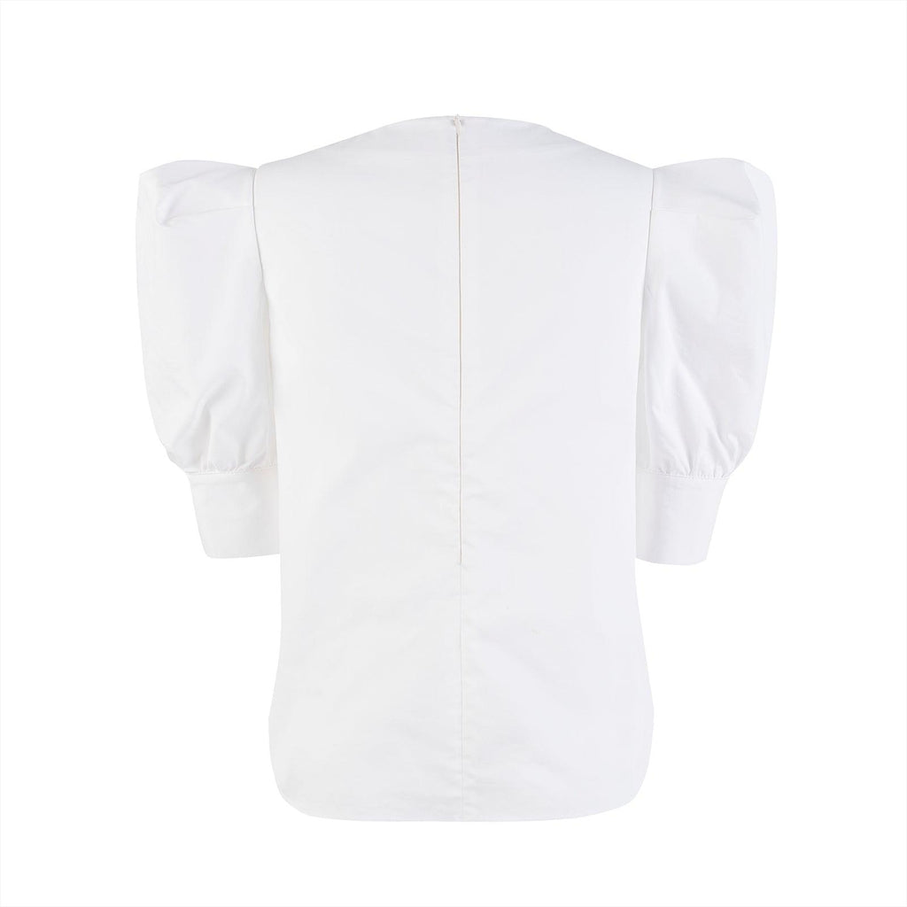 Herlian Flower Bubble Sleeve Shirt White - Mores Studio