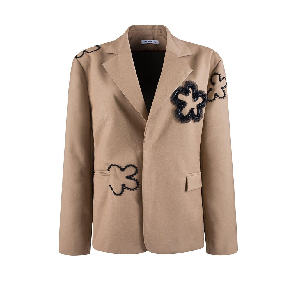 Herlian Flower Patch Blazer Khaki - Mores Studio