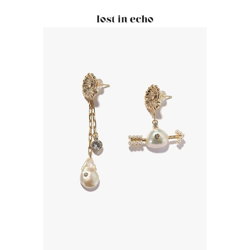 Lost In Echo FW20 Cupid Pearl Earrings Gold - Mores Studio