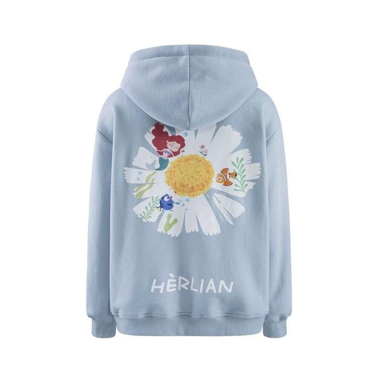 Herlian Back Painting Zip Up Hoodie Blue - Mores Studio