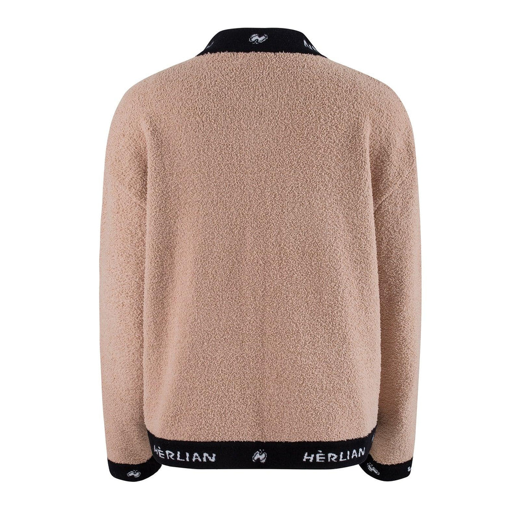Herlian Logo Pocket Cardigan Brown - Mores Studio