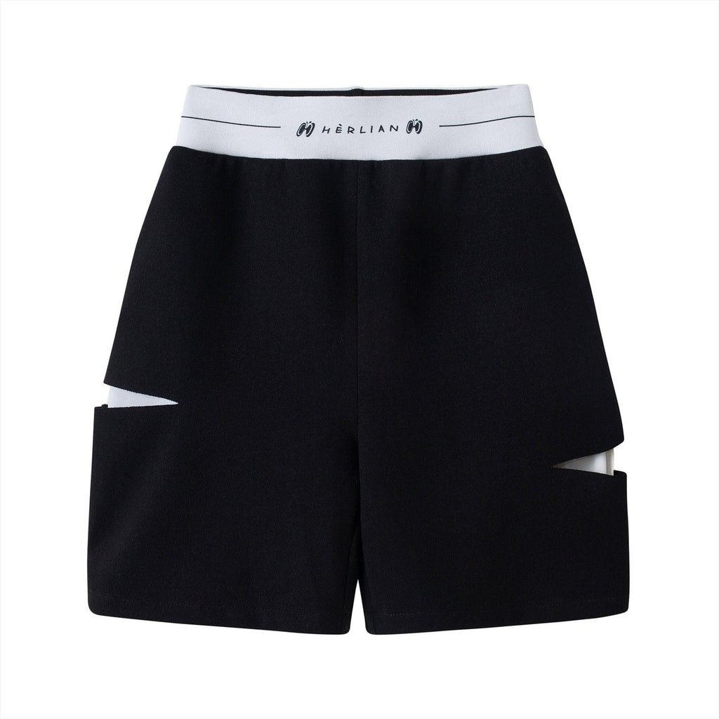 Herlian Le Papillon Destroyed Shorts Black - Mores Studio