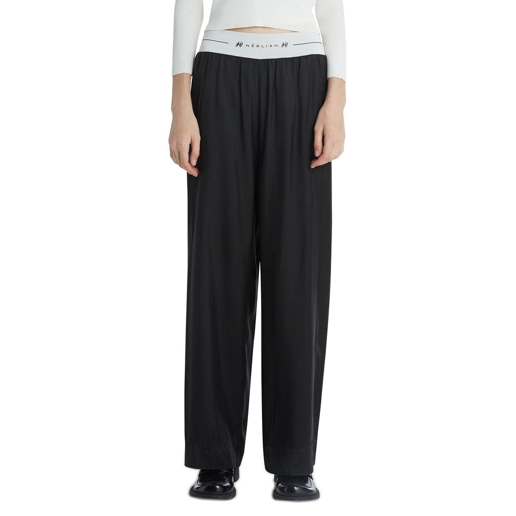 Herlian Le Papillon Logo Wide Leg Pants Black - Mores Studio