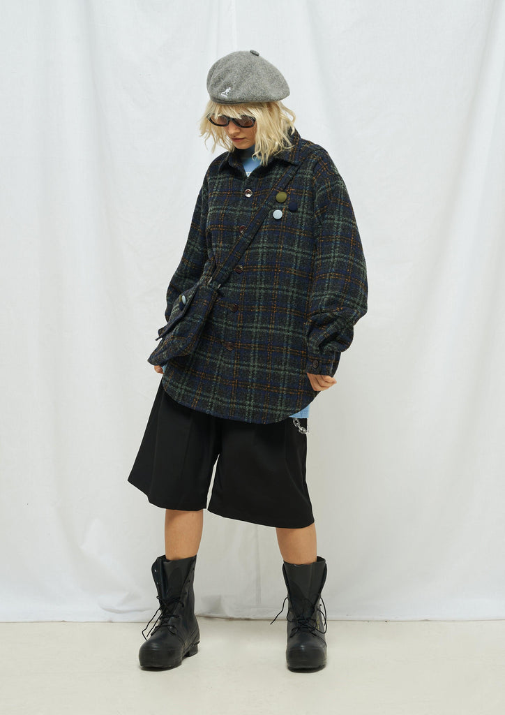 Moditec Knit Plaid Button Jacket Olive - Mores Studio