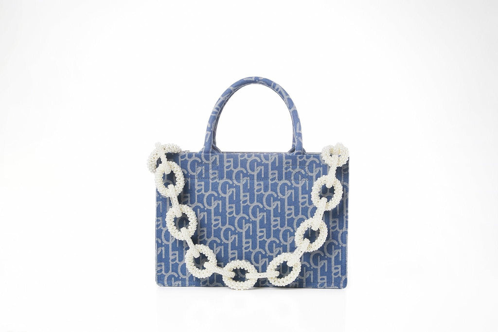 Laurence&Chico Laulau Chichi Jacquard Small Pearl Chain Bag Light Blue - Mores Studio