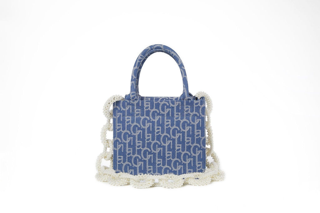Laurence&Chico Laulau Chichi Jacquard Small Square Pearl Chain Bag Light Blue - Mores Studio