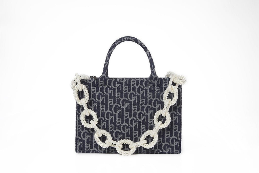 Laurence&Chico Laulau Chichi Jacquard Small Pearl Chain Bag Dark Blue - Mores Studio