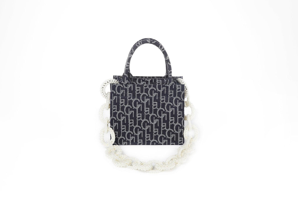 Laurence&Chico Laulau Chichi Jacquard Small Square Pearl Chain Bag Dark Blue - Mores Studio