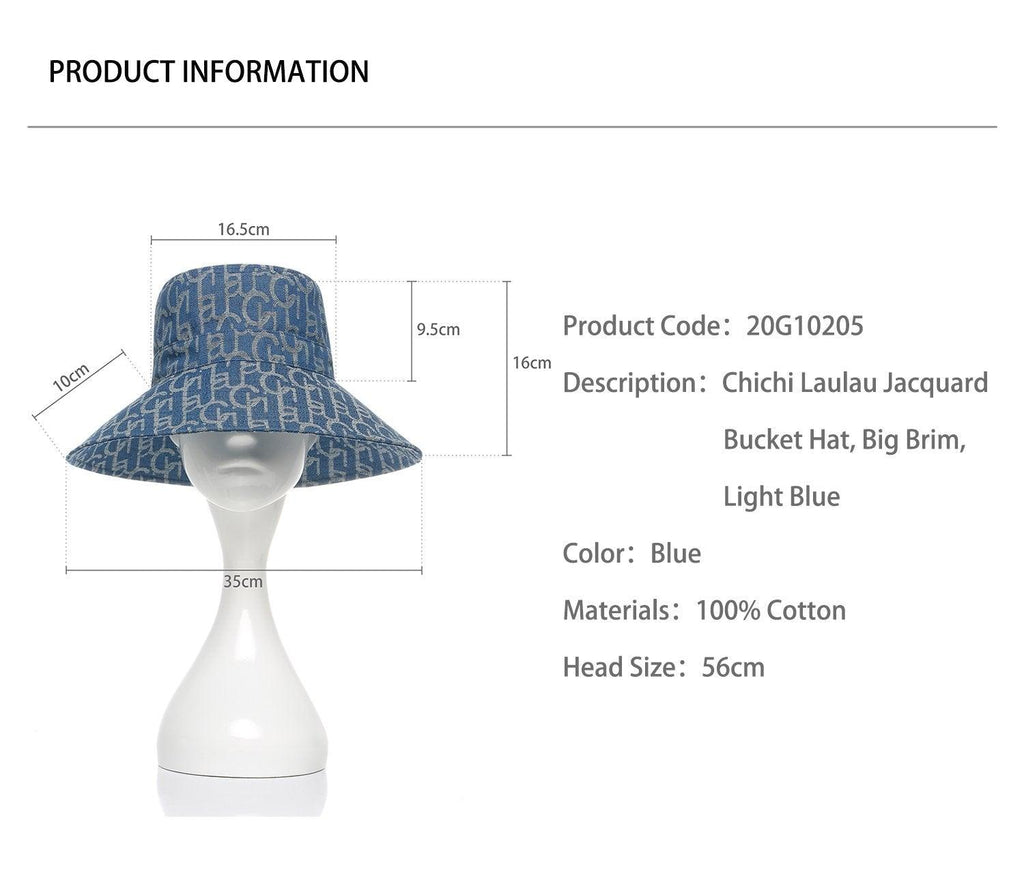 Laurence&Chico Laulau Chichi Jacquard Big Brim Bucket Hat Light Blue - Mores Studio