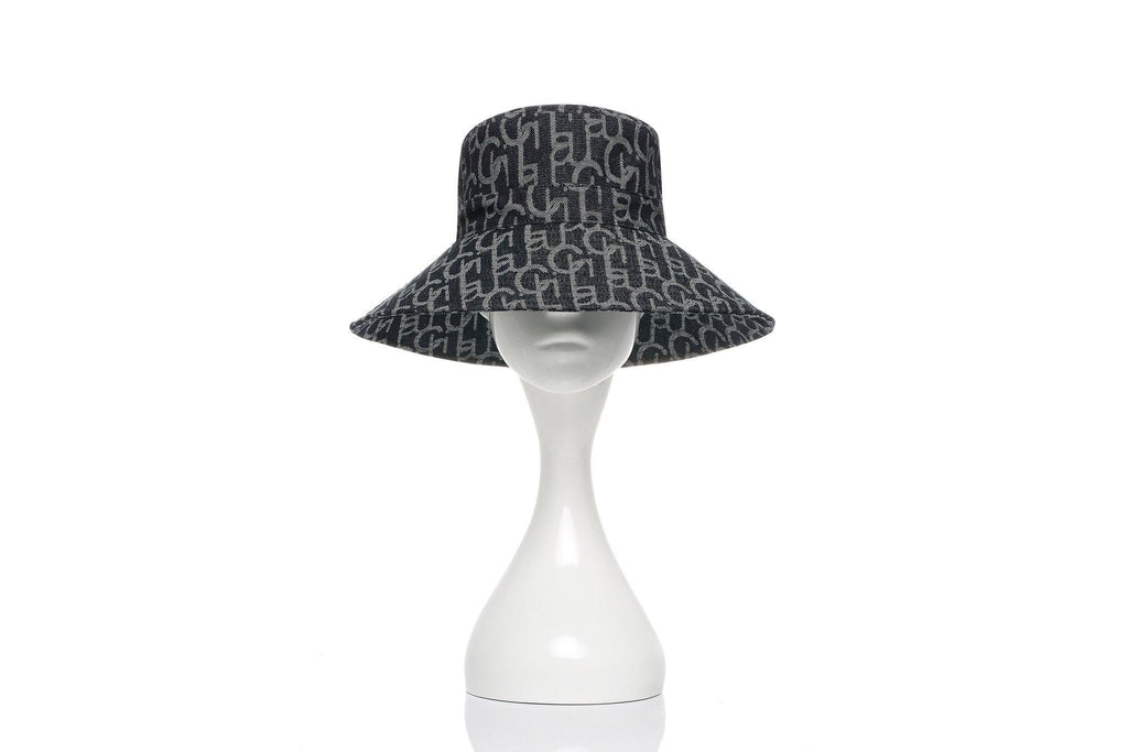 Laurence&Chico Laulau Chichi Jacquard Big Brim Bucket Hat Dark Blue - Mores Studio