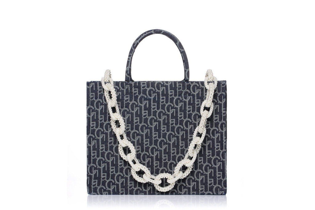 Laurence&Chico Laulau Chichi Jacquard Large Pearl Chain Bag Dark Blue - Mores Studio