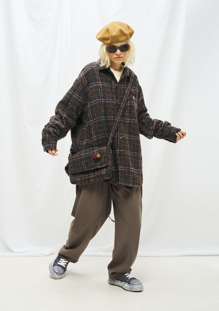 Moditec Knit Plaid Button Jacket Brwon - Mores Studio