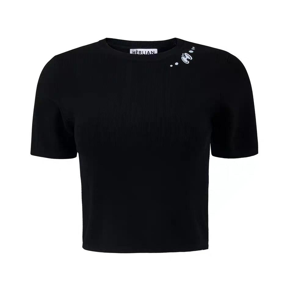 Herlian Le Papillon Knitted Tee Black - Mores Studio