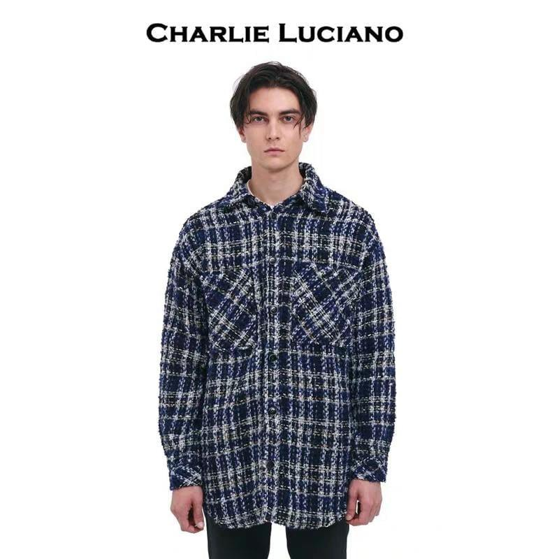 CHARLIE LUCIANO Tweed Overshirt Blue - Mores Studio