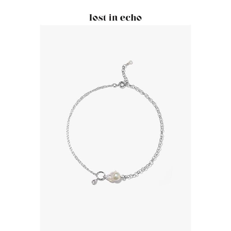 Lost In Echo FW20 Meta Baroque Pearl Necklace Silver - Mores Studio