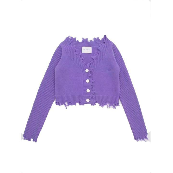 Ann Andelman Destroyed Cardigan Purple - Mores Studio