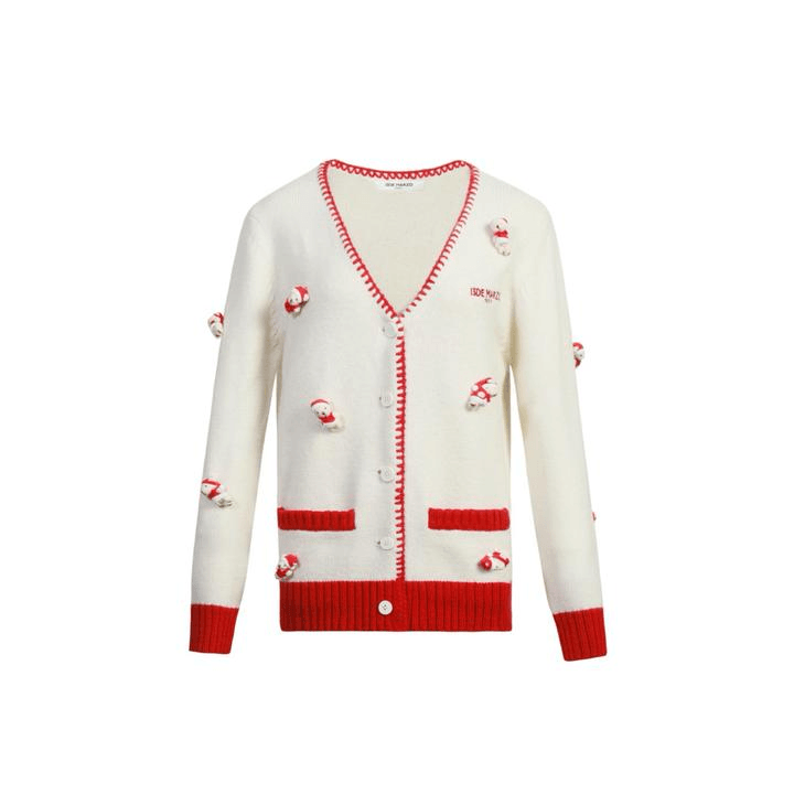 13 De Marzo Mini Teddy Bear Cover New Year's Cardigan White - Mores Studio