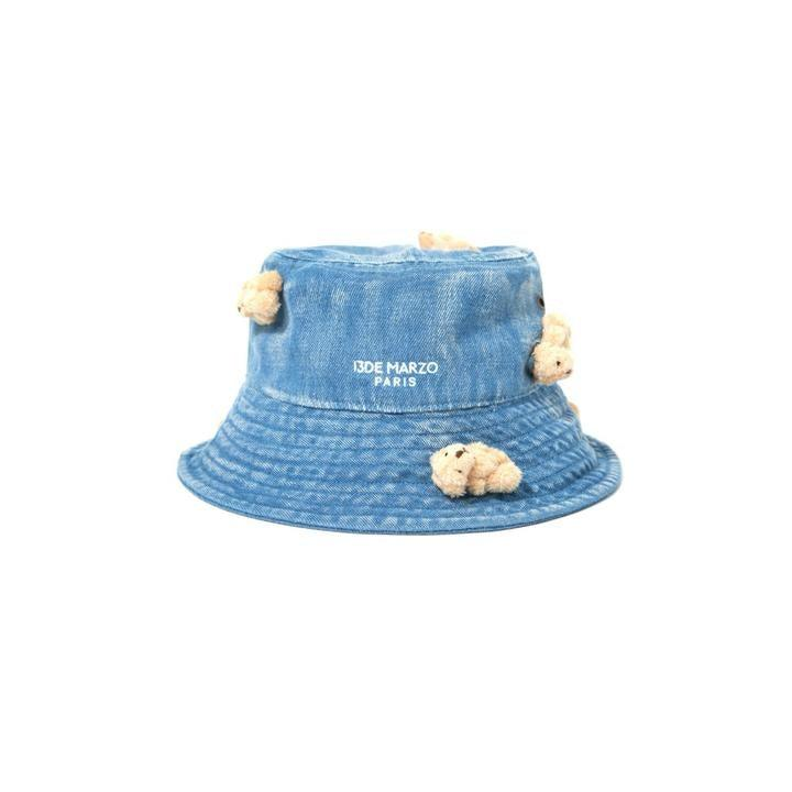 13 De Marzo Mini Teddy Bear Denim Bucket Hat Blue - Mores Studio