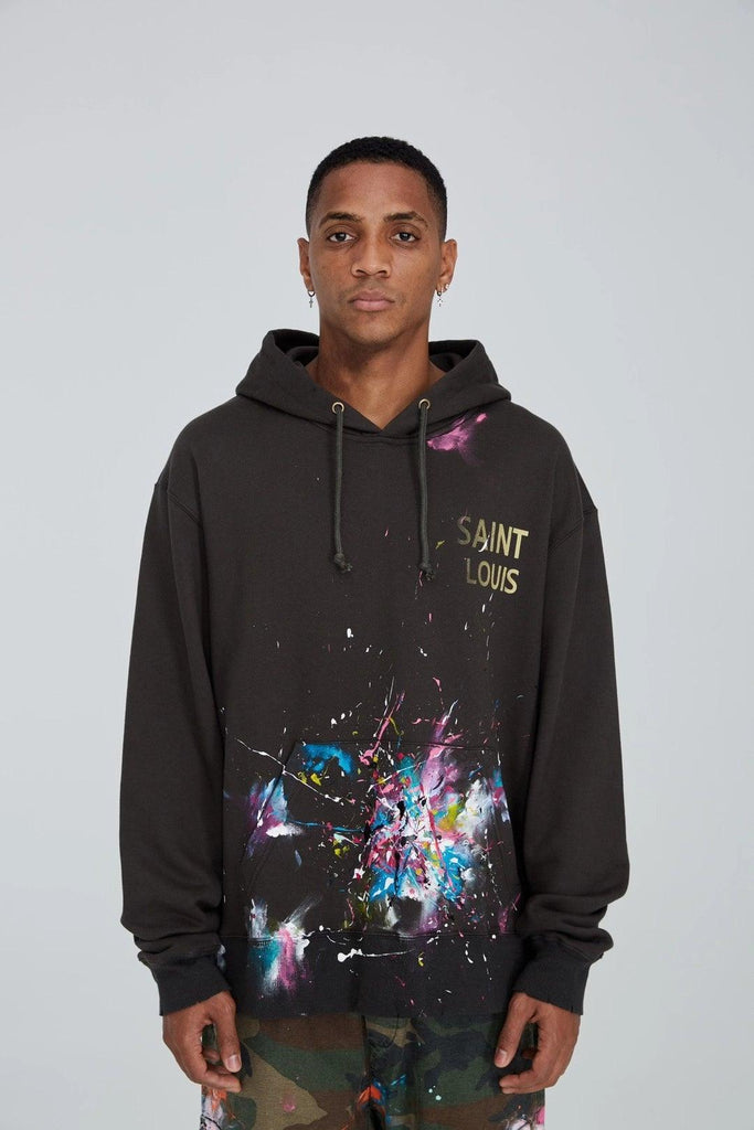 Saint Louis Vintage Painted Hoodie Black - Mores Studio