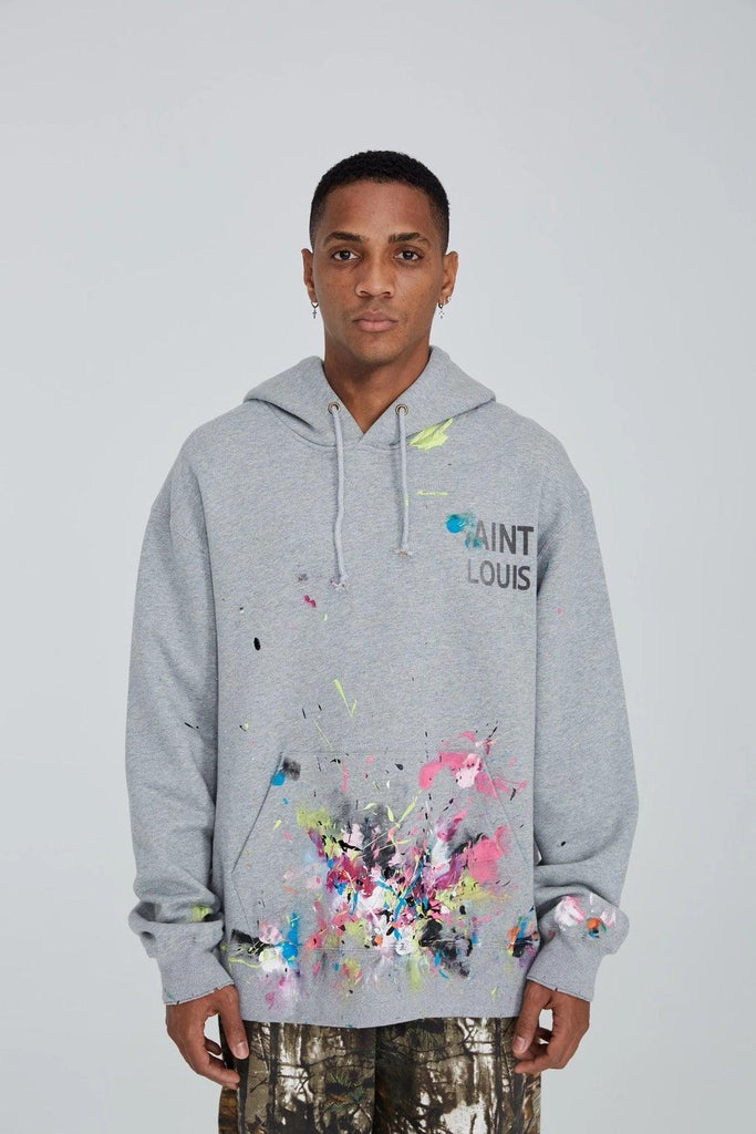 Saint Louis Vintage Painted Hoodie Grey - Mores Studio