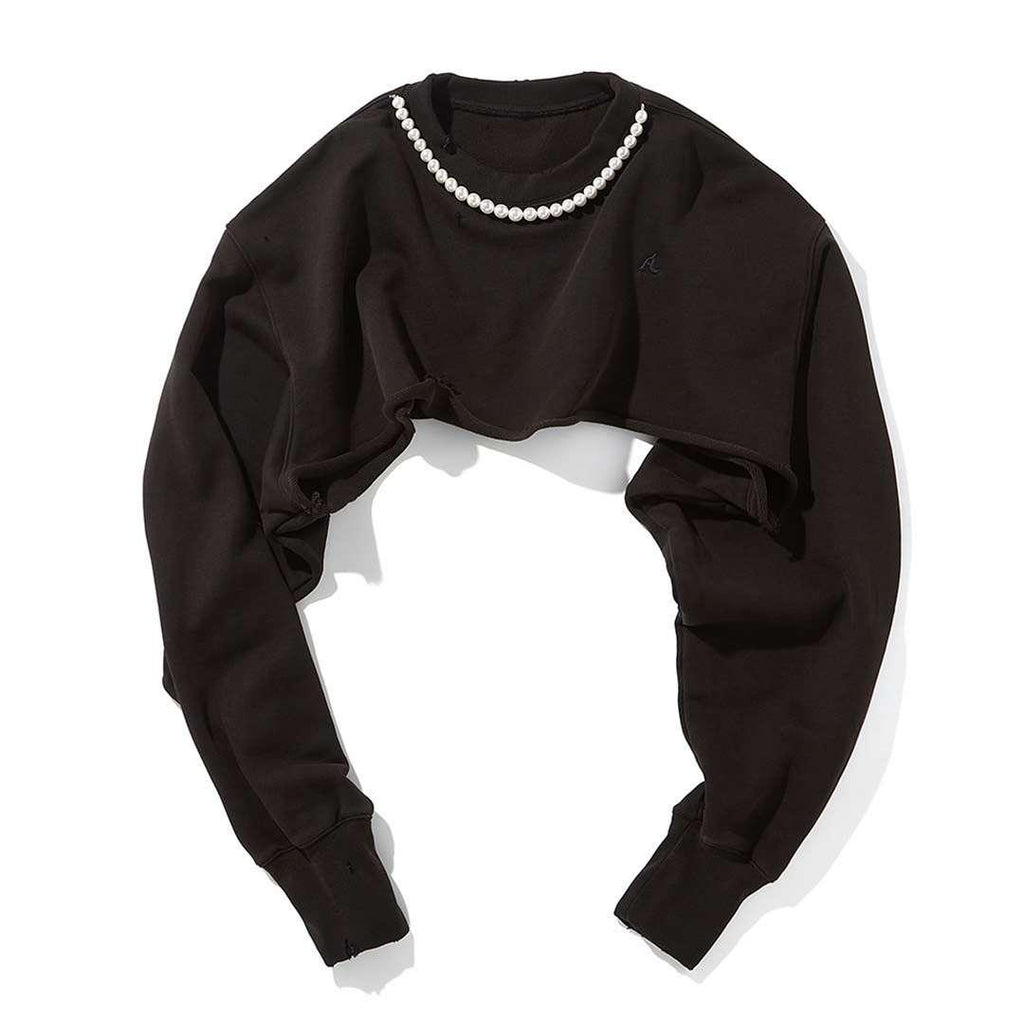 Ain't Shy Pearl Cropped Sweater Black - Mores Studio