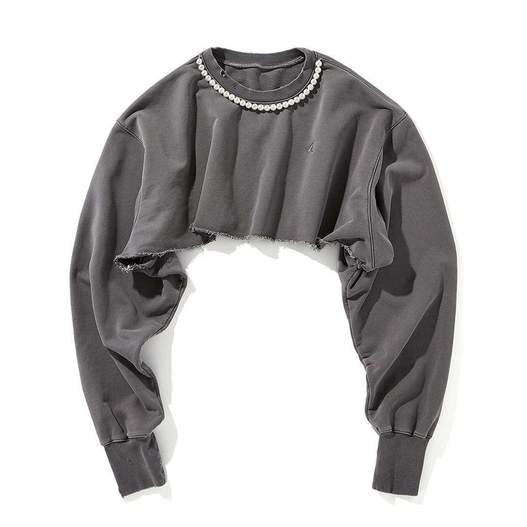 Ain't Shy Pearl Cropped Sweater Grey - Mores Studio