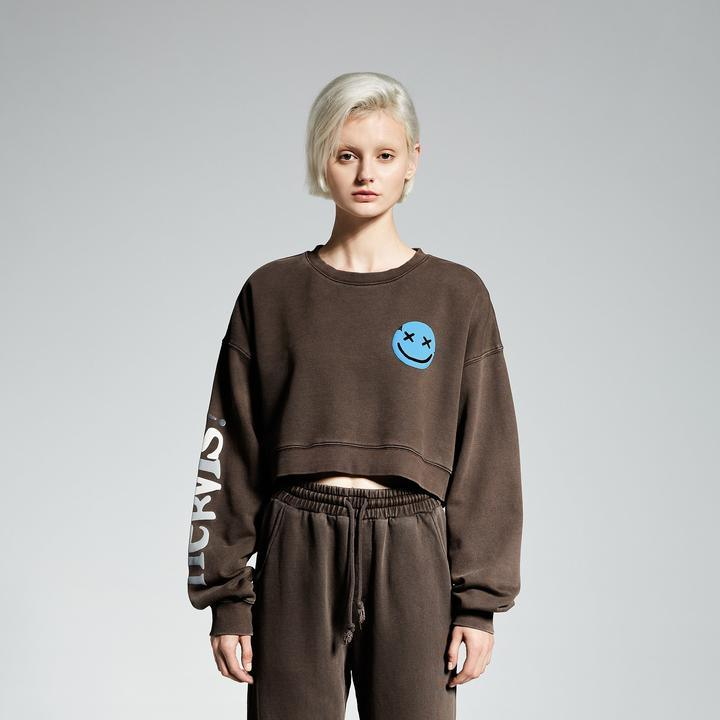 MAYHEM Nervis! Puff-Print Cropped Crewneck Brown - Mores Studio