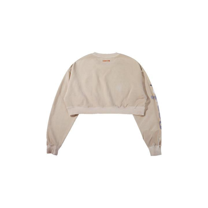 MAYHEM Nervis! Puff-Print Cropped Crewneck Tan - Mores Studio
