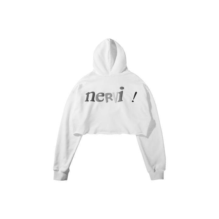 MAYHEM NERVIS! Puff-Print Cropped Hoodie White - Mores Studio