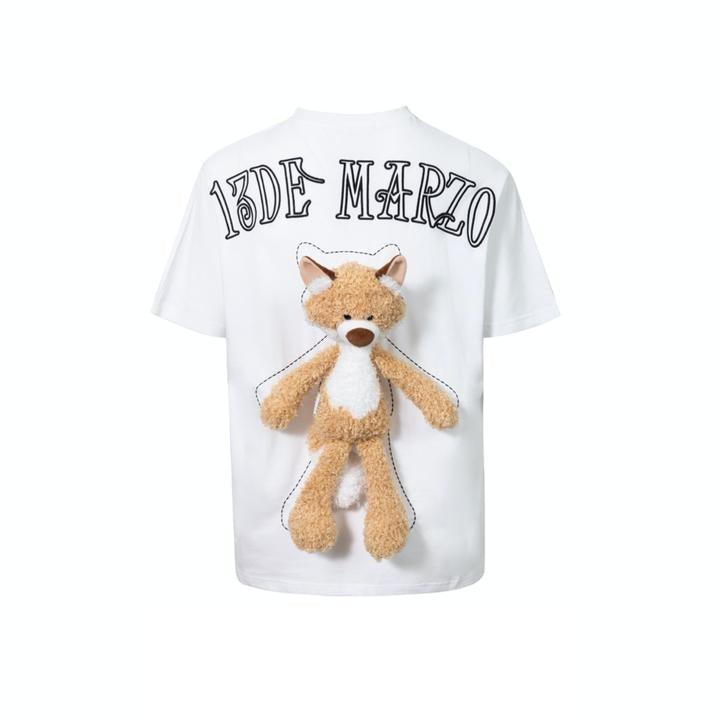 13 De Marzo Plush Fox Toy Tee White - Mores Studio