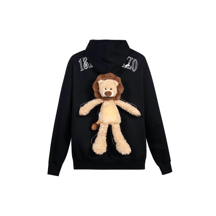 13 De Marzo Plush Lion Toy Hoodie Black - Mores Studio