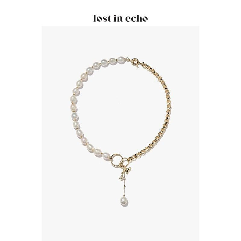 Lost In Echo FW20 Comma Pearl Necklace Gold - Mores Studio