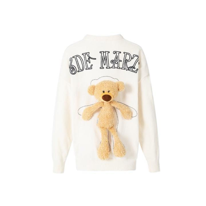 13 De Marzo Teddy Bear Chenille Sweater White - Mores Studio