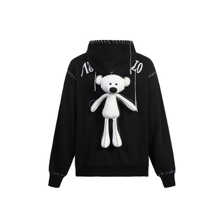 13 De Marzo Teddy Bear Suture Hoodie Black - Mores Studio